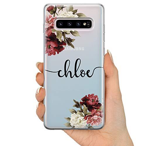 TULLUN Personalisierte Handyhülle für Samsung Galaxy A3 (2016) - Klare Hartplastik Benutzerdefinierte Blumen Design Buchstabe Initialen Name Text - Blumen Signatur Name V2