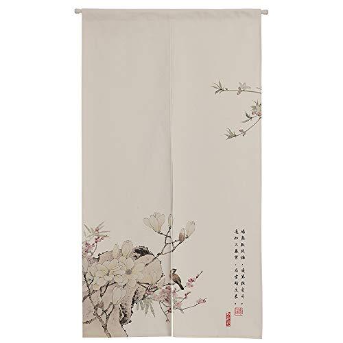 Ofat Home - Cortina japonesa para puerta, diseño de pájaro y flores, 85 x 150 cm, cortina de puerta para cocina, bistró