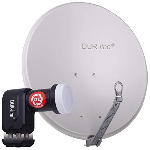 DUR-line 4 Teilnehmer Set - Qualitäts-Alu-Satelliten-Komplettanlage - Select 75cm/80cm Spiegel/Schüssel Hellgrau + Quad LNB - für 4 Receiver/TV [Neuste Technik, DVB-S2, 4K, 3D]