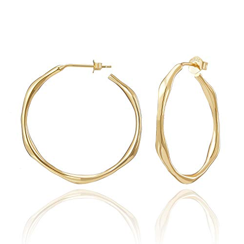 SWEETV Gold Hoop Earrings for Women Sterling Silver Earrings 30mm Open Hoops Gold Plated Lightweight Stud Earrings for Sensitive Ears