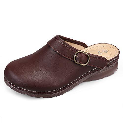gracosy Zuecos para Mujer PU Cuero Verano Loafer Tacón Bajo Mules Planos Zapatos Zapatillas de Playa Antideslizantes Sandalias Redondo al Aire Libre