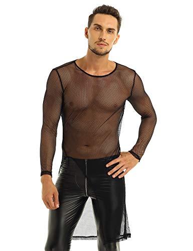YiZYiF Men's Fishnet Long Sleeve Slim Fit Blouse Long Hem Pullover T-Shirt Mesh Top Black Medium