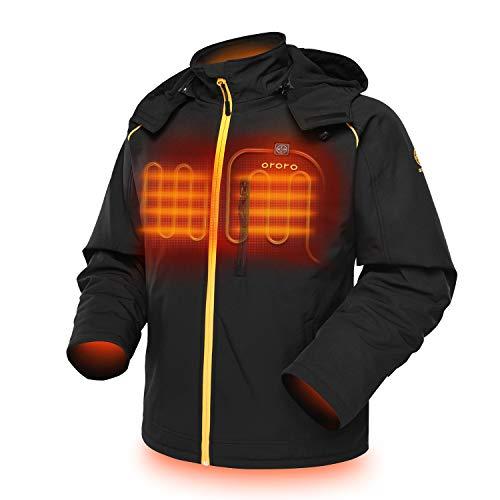ORORO Veste chauffante pour homme avec capuche amovible, batterie et chargeur inclus, noir/doré, taille 2XL
