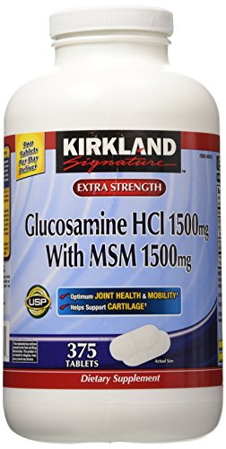 Kirkland2 Bottles -  Signature Extra Strength Glucosamine HCI 1500mg, With MSM 1500mg 375 count
