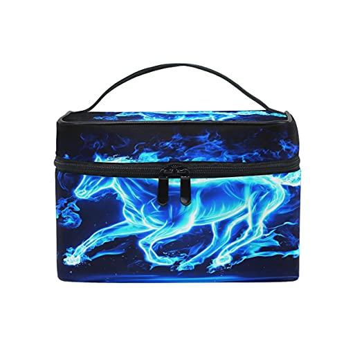 Running Horse Blue Bolsa de cosméticos de viaje de maquillaje de tren cajas de almacenamiento organizador
