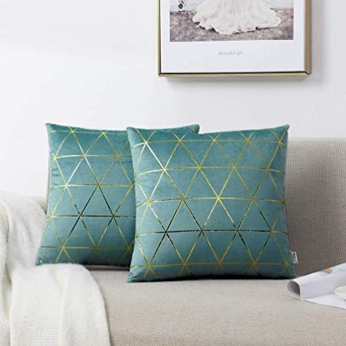 NordECO HOME 2er-Set Kissenbezügen aus Samtkissenbezug mit goldenen Stempellinien Dreiecksmuster Weiches Kissen für Schlafsofa Dekoration blaugrün 45 x 45 cm