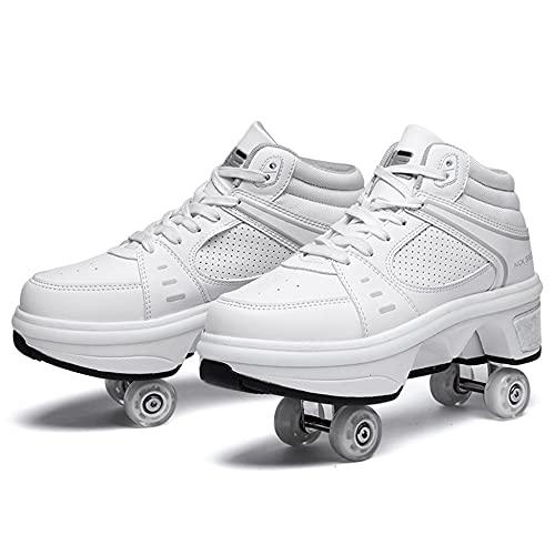 Patines, Zapatos de patinaje sobre ruedas de deformación con ruedas de 7 colores ligeros y de doble fila, zapatos de patinaje retráctiles para mujeres, hombres, niños y niñas / 37