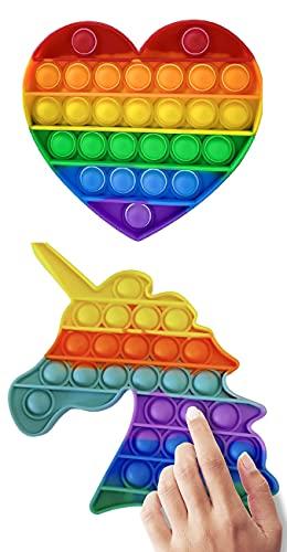 Juego de 2 juguetes de burbujas para niños y adultos, juguetes para aliviar el estrés y la ansiedad para TDAH, autismo, necesidades especiales, juguetes para aliviar el estrés (A-RAINBOW)