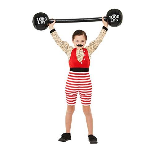 Amakando Original Disfraz fisicoculturista para niño / Rojo S, 4 - 6 años, 115 - 128 cm / Disfraz de Carnaval musculoso Artista de Circo / Insuperable para Fiesta de Disfraces y Carnaval Infantil