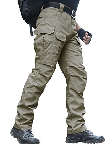 zuoxiangru Wasserfeste Herren Hose Relaxed Fit Tactical Combat Army Cargo Arbeitshose mit Mehrfachtasche (#56 Khaki, Tag L)