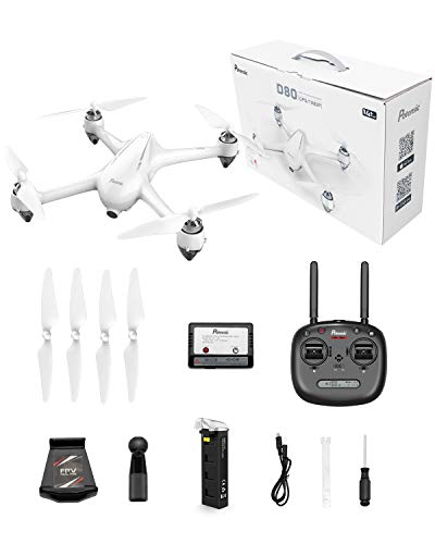 Potensic D80 RC Drone with Camera for Adults, 1080P Live Video Drone,with GPS, Strong Brushless Motors, GPS Auto Return Home,Follow Me, 25 mph High Speed 5.0GHz Wi-Fi Gyro Quadcopter White
