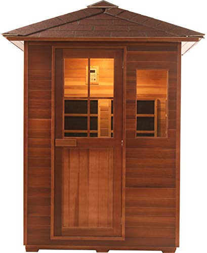 Canadian Red Cedar 3 Person Outdoor Backyard Sauna, FIR Far Infrared SPA with Bluetooth