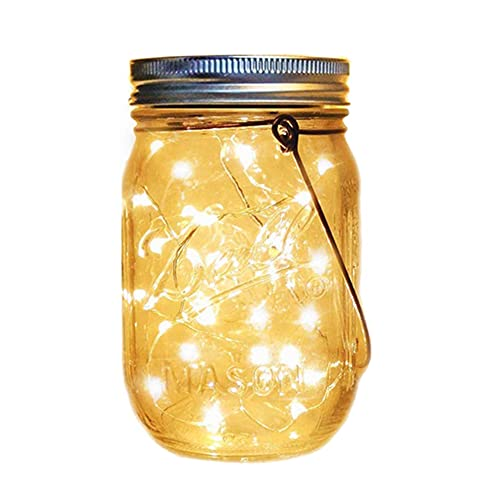 Lampada solare Mason Jar a LED, luce solare in vetro, lanterna a energia solare, per esterni, decorazione natalizia, barattoli per conserve impermeabili da giardino