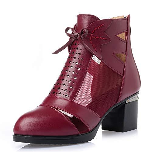 LXYYBFBD Women'S Boots, Boheemse Retro Romeinse damesschoenen hoge top laarzen met groot formaat mode enkele laarzen lente en herfst laarzen dames laarzen rode wijn Baotou