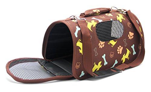 BPS® BPS-5638M - Trasportino in tessuto per animali domestici, cani e gatti, 3 misure S/M/L a scelta (S, marrone)