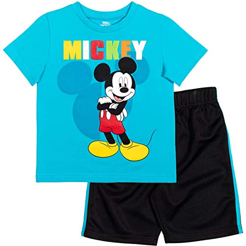 Disney Mickey Mouse Toddler Boys T-Shirt & Athletic Mesh Shorts Set Blue/Black 3T