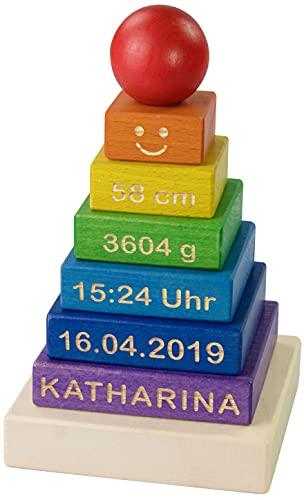 LAUBLUST Stapelturm Personalisiert mit Wunsch-Gravur - Motorikspielzeug für Kinder - Bunt, Holz, ca. 11 x 11 x 19 cm