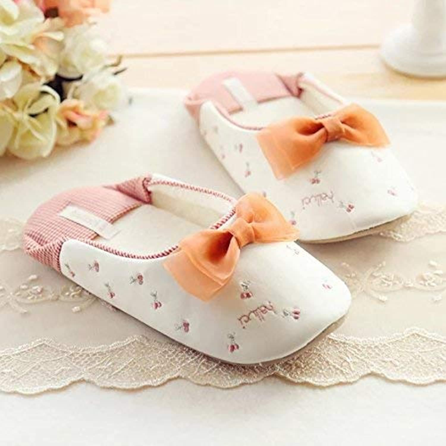 Lady Slippers Woman Spring Summer Fall Casual Slippers Ladies Series Bow Slip Slippers Cute Cherry Pattern Girlish Comfortable Indoor shoes