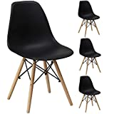 Gr8 Home 4 Retro Eames Inspiriert Sessel Set Plastik Holz Modern Büro Esszimmer Wohnzimmer Tisch...