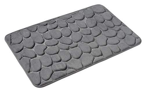 PANA Memoryschaum Badematte in versch. Farben • Badteppich aus weichen Mikrofasern - rutschfest & waschbar • Duschvorleger 50 x 80 cm • Farbe: Grau