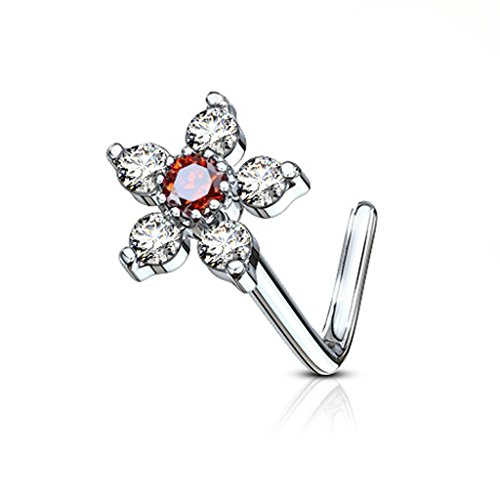 FIFTH CUE 20G 6 CZ Flower Top 316L Surgical Steel L Bend Stud Nose Ring (Clear w/Red)