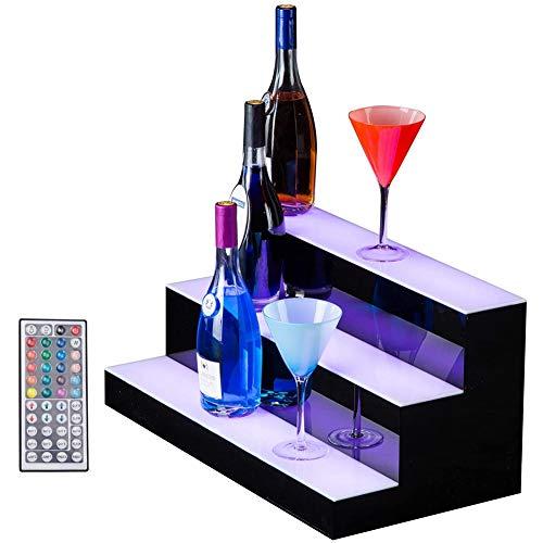 LSGMC Acryl Weiß Beleuchtetes Weinregal mit Fernbedienung LED beleuchteter Alkohol-Flasche Display Beleuchtetes Flasche Regal für Brithday, Hochzeit Weihnachtsfeier, Club, Bars,100 * 33 * 21cm