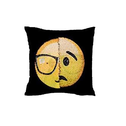 sonicee Emoji expresión Reversible lentejuelas de sirena funda de almohada cojín casa sofá decoración, #6