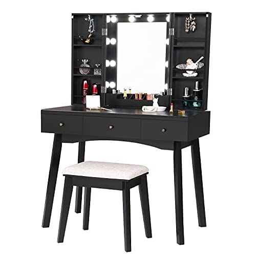 BEWISHOME Vanity Desk with Lighted Mirror, Makeup Vanity with Lights, Black Vanity Set with 10 LED Bulbs & Adjustable Brightness, Dressing Table with Makeup Cabinet 3 Drawers for Women FST14H
