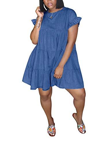 Vakkest Women Summer Ruffle Short Sleeve Loose Swing Tiered Casual Denim T Shirt Midi Dress