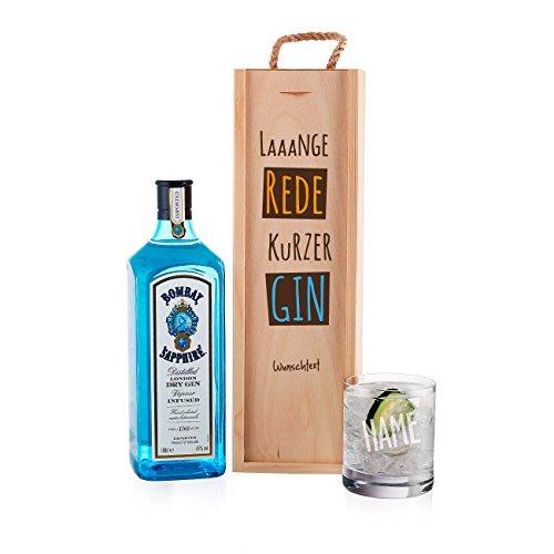 Herz & Heim® Gin Geschenkset - lange Rede kurzer GIN - mit 1 l Bombay Sapphire und graviertem Glas in stilvollen Geschenkverpackung