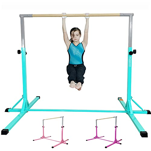 FC FUNCHEER Expandable Gymnastics kip bar,Adjustable from 37.5' to 59',Junior Training bar with Fiberglass bar,Side Extension Added for Additional Stability,Weight Limited 260 LBS