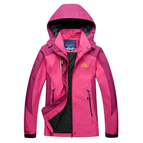 LUI SUI Giacca leggera antivento da donna Impermeabile da esterno Cappuccio staccabile Cappotto da campeggio impermeabile da passeggio