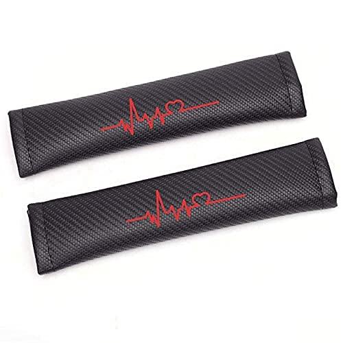 HEIMAOMAO 2pcs Almohadillas para CinturóN De Seguridad, Compatible para Suzuki Kizashi Reno Fibra De Carbono ProteccióN Hombros Confort Acolchado Protector Clip(Red)