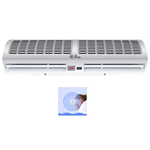 Luftvorhang über Tür Energiespar Schutz vor Mücken Sicherheit Leise natürliche Wind Hohe Luftvolumen Metallgehäuse Gewerbe/Innenknopfschalter/Fernbedienung Weiß,Button Switch,90cm.