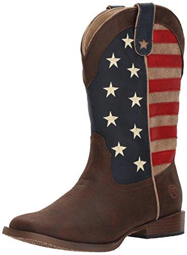 Roper Boy's American Patriot Western Boot, Brown, 6 Big Kid
