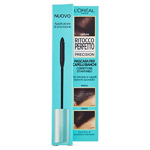 L'Oréal Paris A9689300, Mascara Istantaneo Ritocco Perfetto Precision, Ideale per Capelli Bianchi Radi e Tempie, Non Macchia, 2 Bruno
