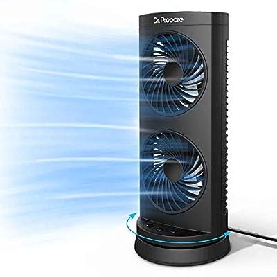 Dr. Prepare Tower Fan Oscillating Fan, Portable Desk Fan with 3-Speed Options, 110° Oscillation, 3 Timers, Personal Quiet Table Fan for Home Office Desktop Bedroom