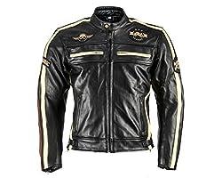 XLS Motorradjacke Classic One für Herren schwarz aus Leder Retro Bikerjacke herausnehmbares Thermofutter Größe XXL