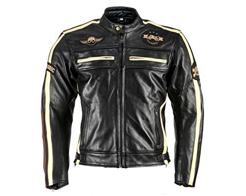 XLS Motorradjacke Classic One für Herren schwarz aus Leder Retro Bikerjacke herausnehmbares Thermofutter Größe XXXL