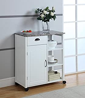 King's Brand White Finish Wood & Marble Vinyl Top Kitchen Storage Cabinet Cart
