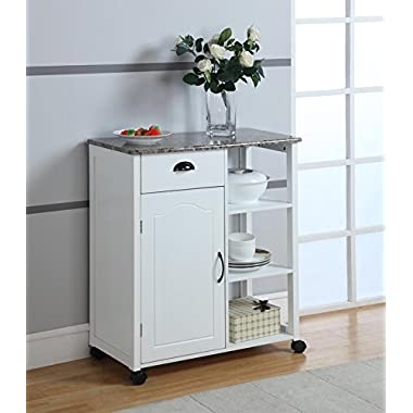 Kings Brand White Finish Wood & Marble Vinyl Top Kitchen Storage Cabinet Cart