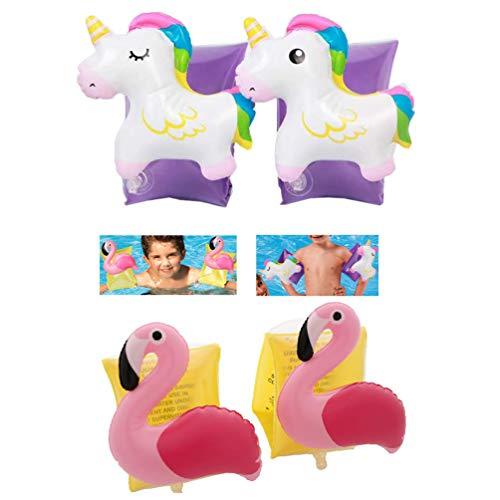 Supercat Gonfiabile Unicorno + Flamingo Bracciali Nuoto Aid Maniche Galleggianti Bracciale Nuotare Cerchio Piscina Piscina Giocattolo per Bambini Neonati Neonati Neonati 2-8 Anni