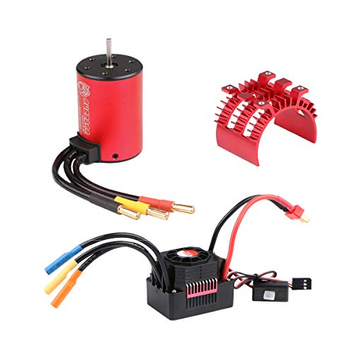Innovateking 3650 5200KV Brushless Motor with 60A ESC Electronic Speed Controller and Aluminum Heat Sink Waterproof Combo Set 3.175mm Shaft for 1/10 RC Car