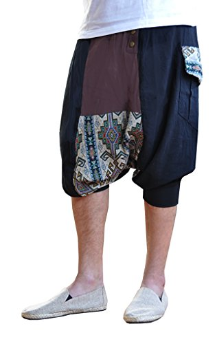 virblatt - Kurze Haremshose Herren | 100% Baumwolle | Kurze Hosen Sommer Aladinhose Herren Kurz Shorts Hippie Goa Hose - Extravagant L-XL beige