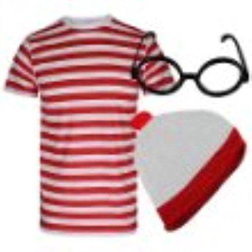 Disfraz para hombre de «Dónde está Wally», con camiseta, sombrero y gafas,...