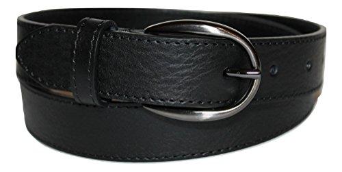 ITALOITALY Cintura in Vera Pelle Italiana, Donna, Alta 3cm, Nera, Bordo con Cucitura, Produzione Artigianale, Made in Italy, Accorciabile (Lunghezza totale cm 110)