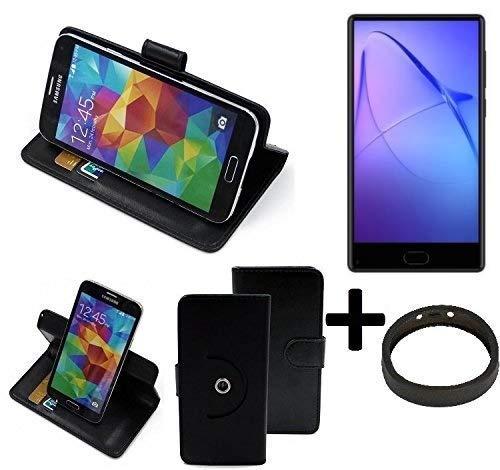 K-S-Trade® Case Schutz Hülle Für Leagoo KIICA Mix + Bumper Handyhülle Flipcase Smartphone Cover Handy Schutz Tasche Walletcase Schwarz (1x)