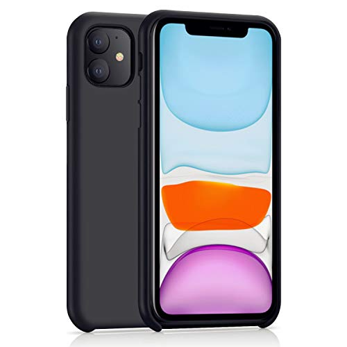 AHABIPERS Liquid Silikon Hülle für iPhone 11 Hülle, Umweltfreundliche Ungiftige Handyhülle Cover Handycase Stoßfeste Hülle mit Weichem Mikrofasertuchkissen für 6.1 Zoll iPhone 11 - Schwarz