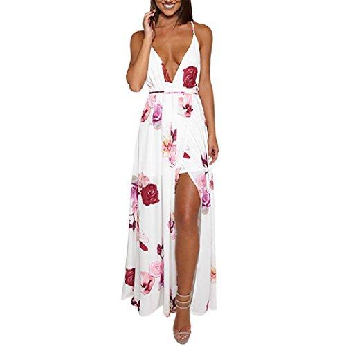 Kleid Damen Kolylong® Frauen Elegantes V-Ausschnitt Blumen gedrucktes ärmelloses langes Kleid Reizvolles rückenfreies Kleid Böhmisches Kleid Partykleid Abendkleid Strandkleid (M, Weiß)