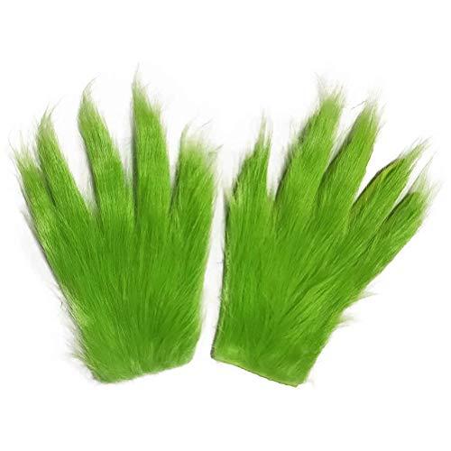 YEKKU Weihnachten Cosplay Handschuhe, 1 Paar Grinch Handschuh Weihnachten Pelz Plüsch Grüne Handschuhe Cosplay Pelz Handschuhe Halloween Party Requisiten Cosplay Kostüm Zubehör